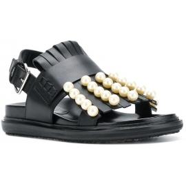 Flache Sandalen von Marni aus schwarzem Leder mit Perlen