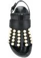 Marni niedrige Sandalen aus schwarzem Leder mit Fransen und Perlen