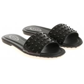 Tod's Flache Sandalen aus schwarzem Lackleder mit Nieten
