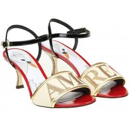Dolce & Gabbana Love High Heel Sandalen aus Leder und Stoff