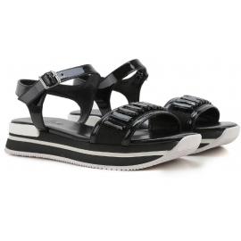 Hogan schwarz Leder wedges Sandalen mit Kristallen
