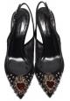 Offene Sandalen hinter Dolce & Gabbana aus schwarzem Leder und Stoff