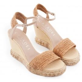 Casadei Keilabsatz Sandalen aus Leder und Stroh