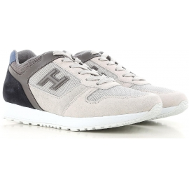 Hogan Herren Sneakers Schuhe aus grauem und cremefarbenem Leder