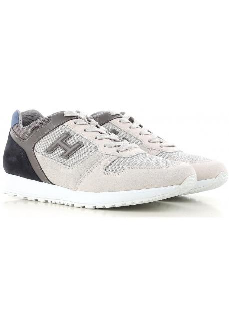 Hogan Herren Sneaker aus grauem und cremefarbenem Leder
