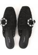 Damen-Hausschuhe von Dolce & Gabbana aus schwarzem Satin