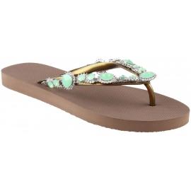 Uzurii Frauen Hausschuhe Tanga Sandalen aus Taupe