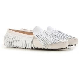Tod's Gommino für Damen, der Mokassins aus weißem Wildleder fährt
