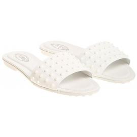 Damen Tod's Pantoffeln aus weißem Lackleder