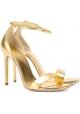 Saint Laurent High Heel Sandalen aus goldlaminiertem Leder