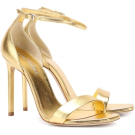 Saint Laurent High Heel Sandalen aus goldlaminiertem Leder