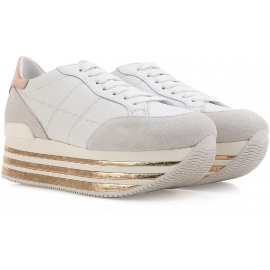 Hogan Low Top Wedges Sneakers aus weißem Leder