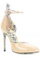 Gucci High Heel Sandaletten aus sandfarbenem Lackleder