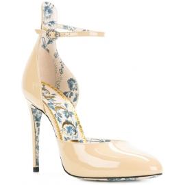 Gucci High Heels pumpt Schuhe aus Sand-Lackleder