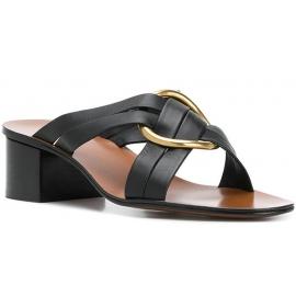 Sandalen mit hohem Chloé aus schwarzem Leder