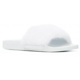 Givenchy Damenhausschuhe aus weißem Leder und Fell