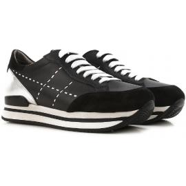 Hogan Damen Sneakers aus schwarzem Leder und silbernem Metallic hinten mit hoher Gummisohle