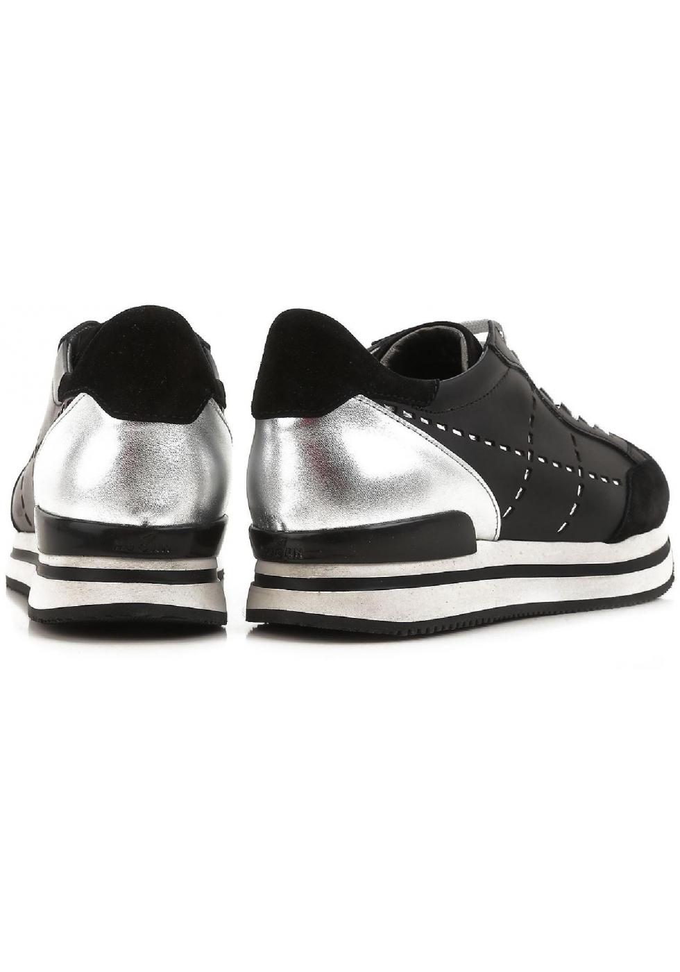 87cb0ec584c36d ... Hogan Damen Sneakers aus schwarzem Leder und silbernem Metallic hinten  mit hoher Gummisohle ...