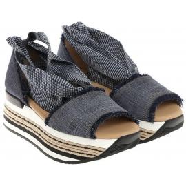 Hogan Damen Sandalen mit hohem Absatz aus Jeansstoff