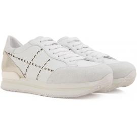 Hogan Damen Sneakers aus weiß Leder und silbernem Metallic hinten mit hoher Gummisohle