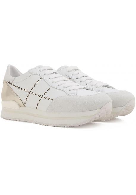 17e09082013ada Hogan Damen Sneakers aus weiß Leder und silbernem Metallic hinten mit hoher  Gummisohle