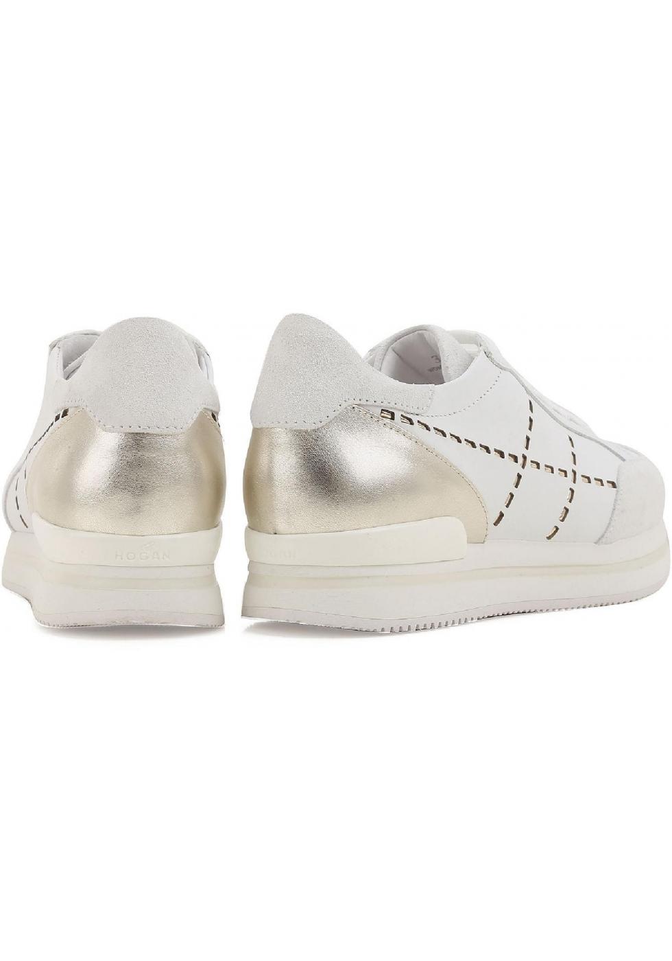 6a7018e762603f ... Hogan Damen Sneakers aus weiß Leder und silbernem Metallic hinten mit hoher  Gummisohle ...