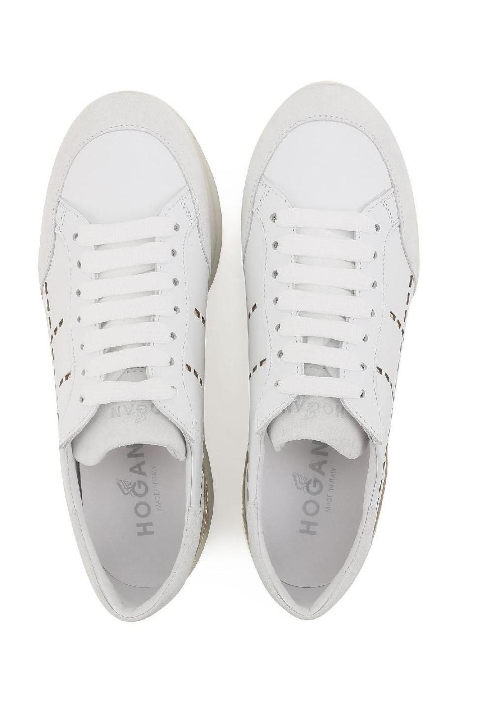 a4fb807997157b ... Hogan Damen Sneakers aus weiß Leder und silbernem Metallic hinten mit hoher  Gummisohle