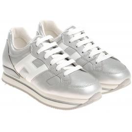 Hogan Damen Sneakers aus silberfarbenem Leder