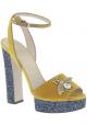 Gucci wedges Sandalen in gelbem Kalb leder und blu plateau
