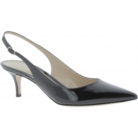 Gianvito Rossi Damen sandalen aus schwarzem Lackleder hinten offen