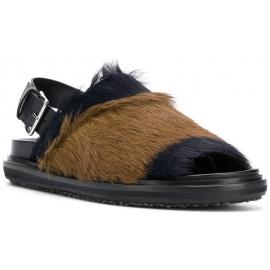 Marni Damen-Sandalen aus schwarzem und braunem Fell mit rückseitiger Schnalle