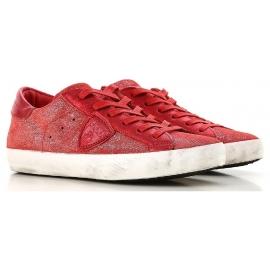 Philippe Model Sneakers Frau aus rot Wildleder mit weißer Sohle