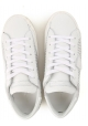 Philippe Model Damen sneaker aus weißem Leder mit versilberten Perlen
