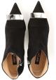 Sergio Rossi Damen stiefeletten aus schwarzem Wildleder mit Metallschnalle