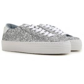 Chiara Ferragni Damen Sneakers in Silber Glitter mit hoher Sohle