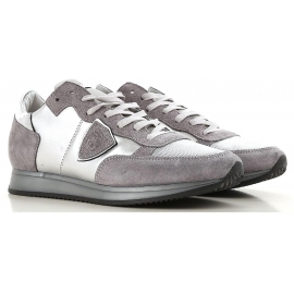 Philippe Model Damen Sneakers aus silberfarbenem Leder und Stoff