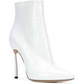 Casadei Knöchelhohe Stiefelette Frau aus weißem Lackleder mit Stöckelabsatz