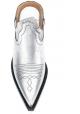 Maison Margiela Damen hausschuhe aus Silberlaminat mit texanischer Ferse