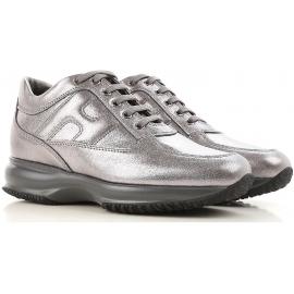 Hogan interactive damen sneakers aus silber laminiertem Leder