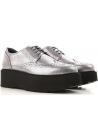Hogan urban Damen Schnürschuhe aus silber Leder mit schwarzem Absatz