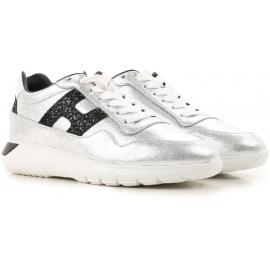 Hogan Damen Sneakers aus silberfarbenem Leder mit schwarzen Details