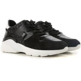 Hogan Damen Sneakers aus schwarzem Leder und Strass-Details