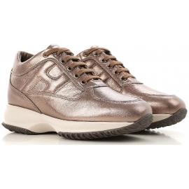 Hogan Damen Sneakers aus braunem laminiertem Rindsleder