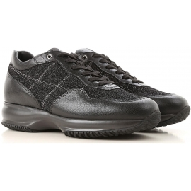 Hogan Damen Sneakers aus schwarzem Leder und Glitzergewebe