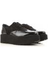 Hogan H355 Damen Schnürschuhe aus schwarzem Lack und Wildleder
