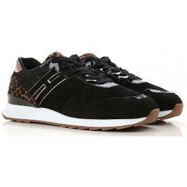 Hogan Damen Sneakers aus schwarzem Velours leder mit Glitzer effekt