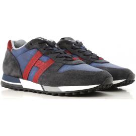 Hogan H383 RUNNING sneakers Mann aus Nubuk leder und blauem und rotem Stoff