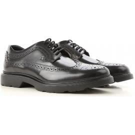 Hogan H393 DERBY Herren Schnürer aus schwarzem glänzendem Leder mit Brogue