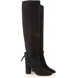 Aquazzura MILANO BOOT 85 Knielange schwarze Damenstiefel mit quadratischer Ferse
