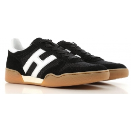 Hogan Herren-Sneakers aus schwarzem Leder und Stoff